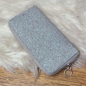 Silver glitter zip up wallet